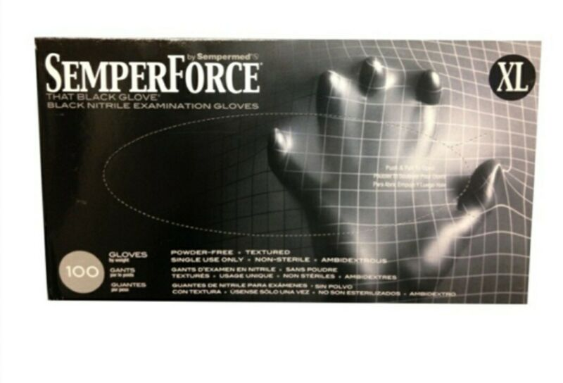 Semperforce Black Nitrile Disposable Gloves Tattoo Janitor Mechanic XL 1 Box