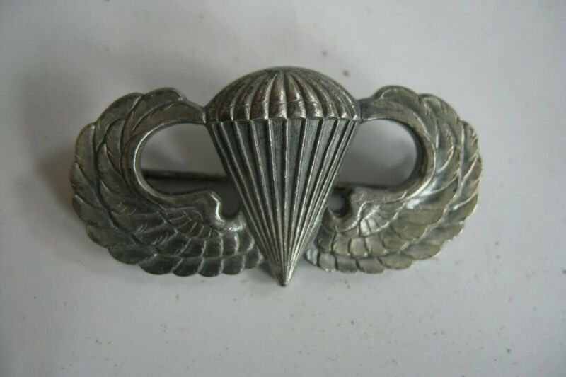 Vintage Original WWII Airborne Wings 925 Sterling Silver Paratroopers WW2 Pin