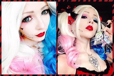 Suicide Squad Harley Quinn Cosplay Curly Hair Costume Wig Pink Blue Gradient - Pink Hair Costume