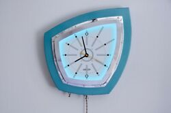 Unique Retro Neon Wall Clock; hand-fabricated; mid-century/Googie/Atomic style
