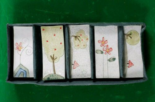 Japanese Chopstick Holders, Set of 5, Ceramic, Decorated, EUC.