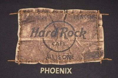 *** A+++ PERFECT Vintage HARD ROCK CAFE PHOENIX Leather Look T-Shirt Shirt Small