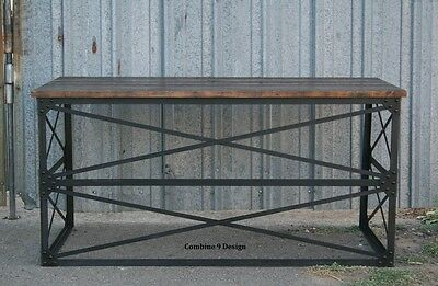 Vintagemodern Industrial Desk. Mid Century Design. Table. Steelreclaimed Wood.