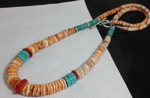 """Gradual spiny oyster shell/turquoise/coral heishi necklace//22"""" length(g180v-w1)"""
