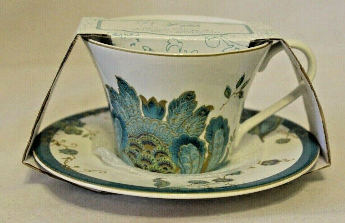 eliza teal porcelain floral cup and saucer