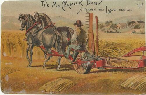 McCormick Daisy Reaper Victorian Trade Card w Sad Man Lost Crop    w