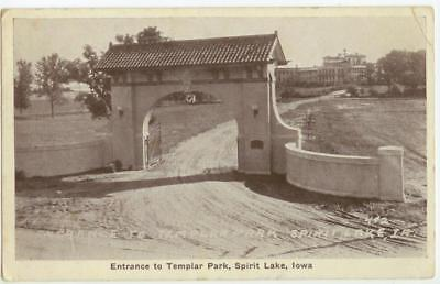 c1910 Spirit Lake Iowa Entrance to Templar Park - by Auburn No. 492