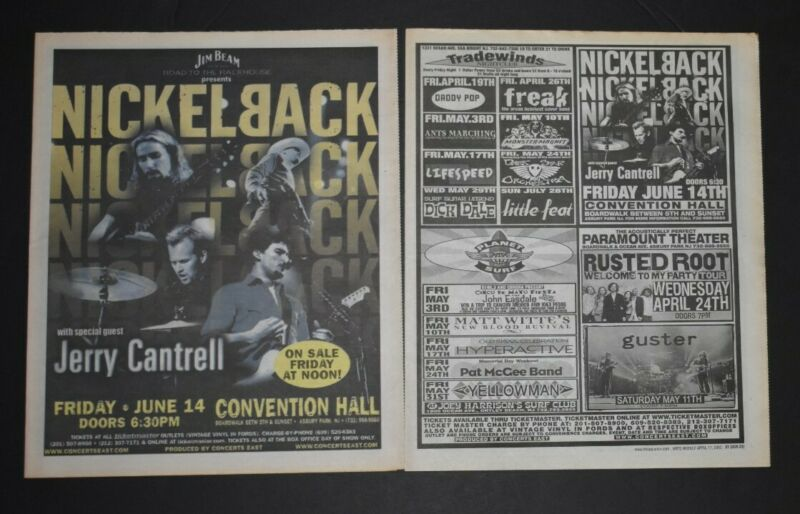 Nickelback 2002 Concert Ads 2PC Lot Convention Hall NJ Jerry Cantrell