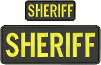 sheriff embroidery patch 4x10 and 2x5 hook on back gold