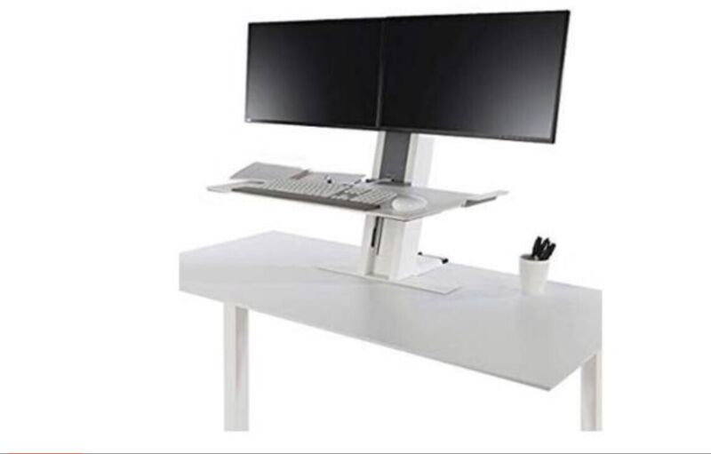 White Humanscale Quickstand Dual Monitor Display Sit/stand Desk 1 DAY $ OFF
