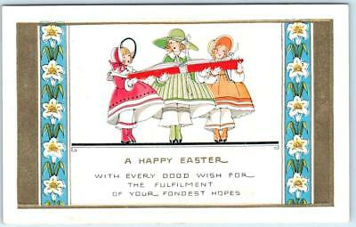 Easter Arts And Crafts (Arts and Crafts Embossed A HAPPY EASTER  Pretty Girls, Lilies  ca 1910s)