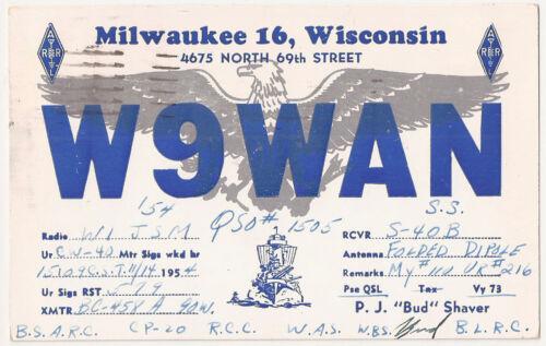 QSL Card 1954 Milwaukee Wisconsin W9WAN