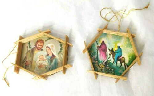 Vintage Set of 2 Handmade Christmas Nativity Ornaments