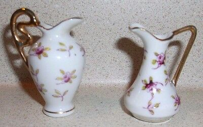 """Vintage miniature set of 2 pitchers flowers & gold handles 1.75"""" tall dollhouse"""