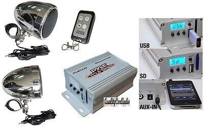"NEW Pyle PLMCA40 3"" Motorcycle Speakers AMP USB/SD MP3/iPod-In FM Radio, Remote"