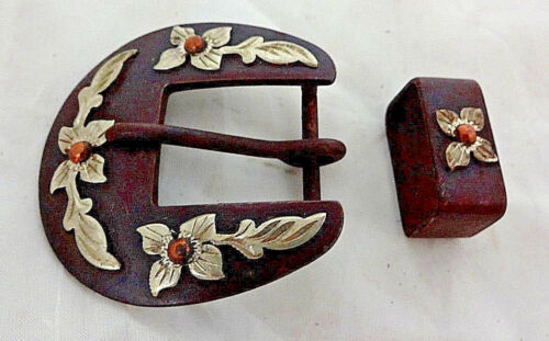 Brown Iron Floral German Silver Overlay 2 Piece Buckle Set Headstall 3/4 Western