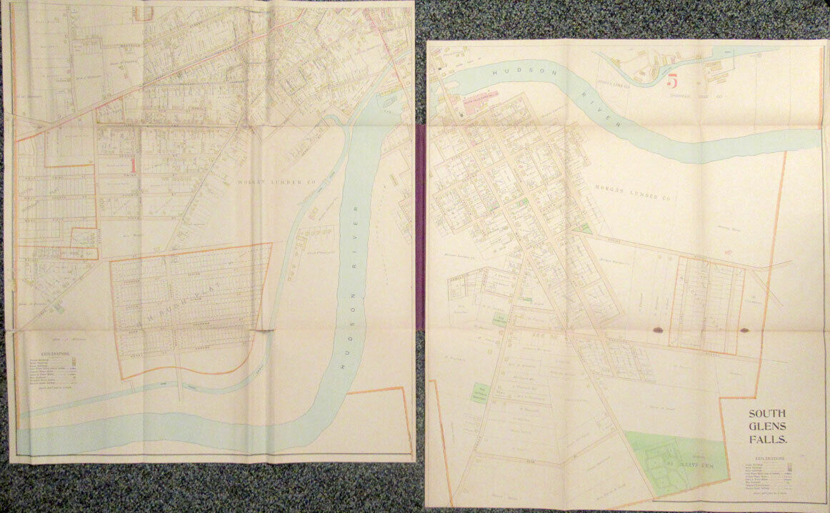 1892 Map of Glens Falls New York published by R S Cunningham  Co