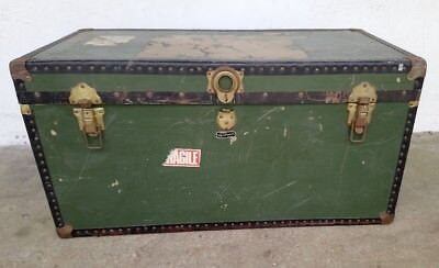 ORIGINAL VINTAGE MOSSMAN LONDON GREE STEAMER BOARDING SCHOOL TRUNK TRAVEL TRUNK