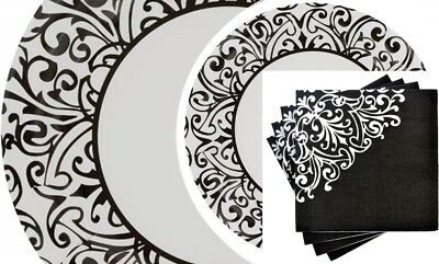 Black & White Damask Bridal Wedding Engagement Paper Party Plates Napkins Set