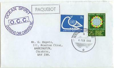(1999 Paquebot Cargo Ship Ocean Spirit franked United Nations cover)