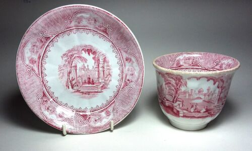 Antique ENGLISH PINK Cup & Handleless Saucer CASTLE SCENERY by Furnival c.1860