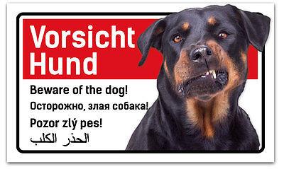 Warnschild Vorsicht Hund Rottweiler - 5-sprachig für Zaun ,Tür gegen Einbrecher