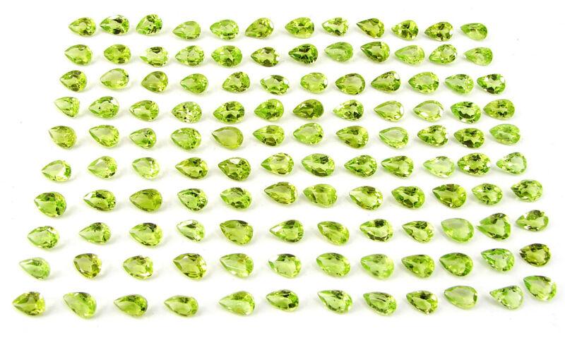 50.30 Ct Natural Peridot 4x6 mm Loose Gemstone Pear Cut Lot of 120 Pcs  - 32940
