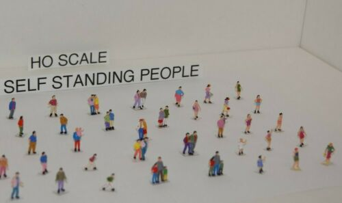 100 SELF STANDING 1 / 87  HO SCALE PEOPLE on CLEAR BASES, you get 2 SETS of 50
