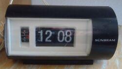 Vintage Sunbeam Flip Alarm Clock Lighted Black Japan Retro Works