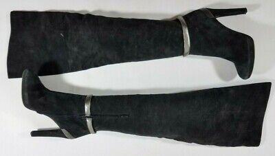 FENDI Black Suede Platform Over Knee Boots