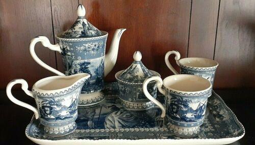 Vintage Cobalt Blue & White 8pc Tea Service Set Tray Teapot 2 Cups Creamer Sugar