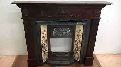 5: Newly restored original Victorian fireplace with oak mantel with basket (Complete)