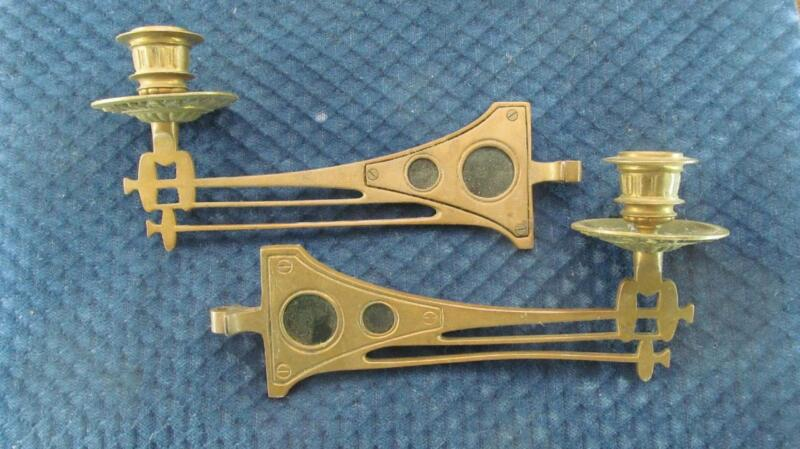 British • ARTS & CRAFTS • Bronze Pair -  Candle Wall Sconces