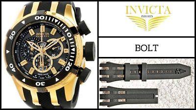 Black Silicone Rubber Watch Band Strap For Invicta RESERVE BOLT