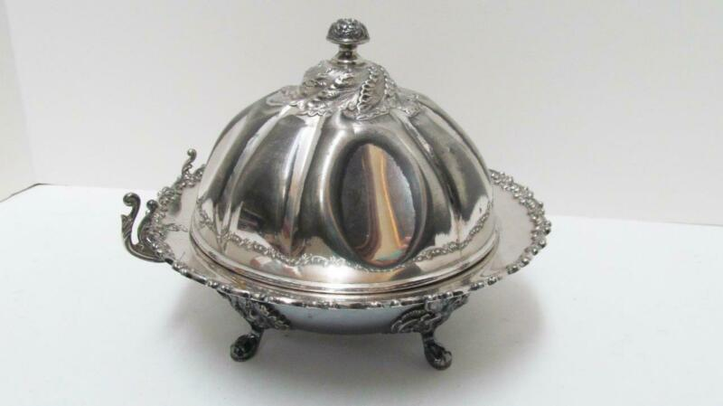 Antique Victorian Wilcox Silverplate Round Butter Dish w/ Lid & Glass Insert
