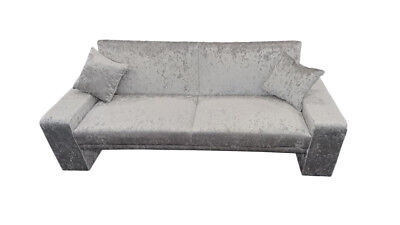 Crushed Velvet Fabric Sofa Bed 3 Seater Sofabed Black, Truffle or Silver