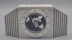 Bulova Mid Century German Movement World Time Mantle Desk Alarm Clock