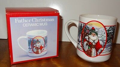 Father Christmas Coffee Mug Cup Santa Claus Deer Winter   10 oz Ceramic Forrest