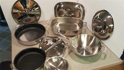 ALL CLAD 9 Pc STAINLESS STEEL COOKWARE SET Skillets Pans Roaster Stir Fry Wok All Clad Steel Wok