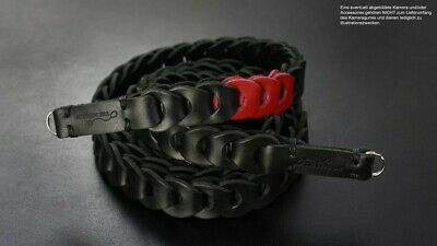 Kameragurt aus Leder | Schwarz Rot | Rock n Roll Camera Straps | Handmade | Gr.S