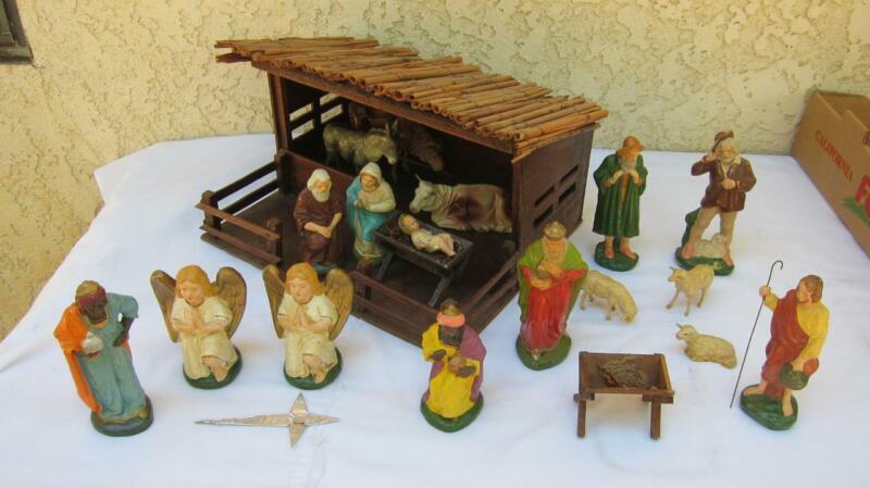Vintage Germany Putz 20-piece Christmas Nativity Manger Creche Set Nice
