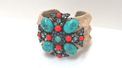 Fashion Statement Cuff Bracelet Faux Leather Turquoise Coral and Rhinestone Coral And Leather Bracelet