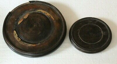 two old wooden oriental circular stands