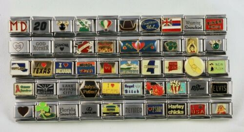 Italian Charms 50 Assorted Stainless Steel Wholesale Lot 9mm (C50-02212)