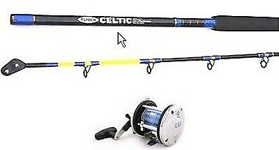 FLADEN CELTIC 7ft ROLLER TIP BOAT ROD+JD500 MULTIPLIER REEL+LINE SEA COD FISHING