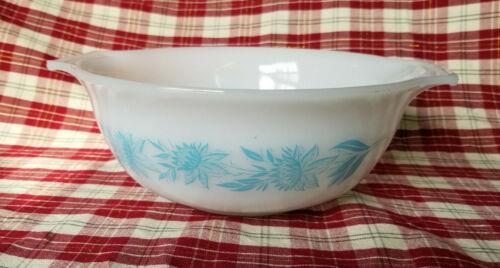 Vintage Glasbake Milk Glass Blue Thistle Flower 1 1/2 Quart Nesting Bowl