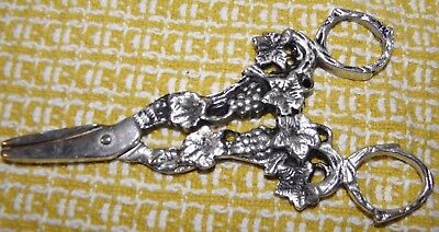 """SILVER PLATED GRAPE SHEARS~INTRICATE DETAILING~APPROX. 5"""" LONG~ PORTUGAL~LABEL"""