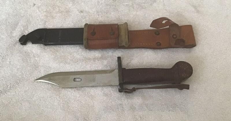 Romanian Bakelite Handle Bayonet, Scabbard & Leather Frog