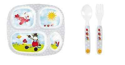 Baby Glück Geschenkset Menüteller mit Besteck 13426 Melamin Geschirr Neu & Ovp