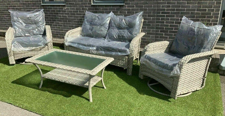 Garden Furniture - RATTAN GARDEN FURNITURE CORNER SOFA SET LOUNGER TABLE OUTDOOR PATIO CONSERVATORY